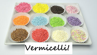VERMICELLI Cake Sprinkles Sugar Strands Toppers Baking Decorating All Colours!