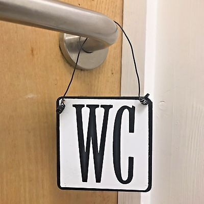 Door Hanging WC Plaque Sign Shabby Chic Vintage Antique Style Gift Toilet Loo
