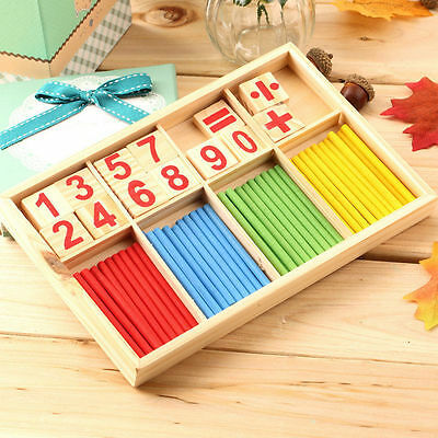 Math Manipulatives Wooden Counting Sticks Kids Preschool Educational Toys DE