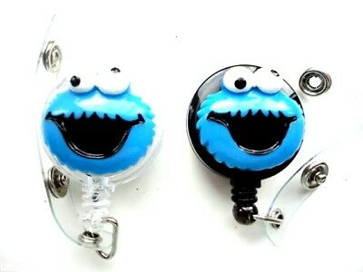 Black White Cookie Monster Novelty Retractable Recoil ID Card Badge Holder Reel