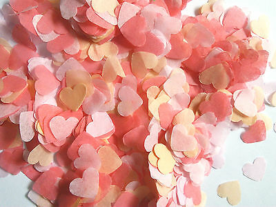 Coral, Light Pink, Peach Heart ECO throwing confetti - SUMMER Wedding decoration