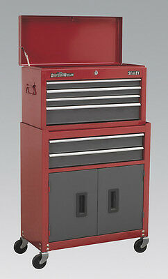Sealey Topchest & Rollcab Combination 6 Drawer with Ball Bearing Runners - Red/G
