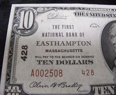 1929 $10 National Currency * First National Bank of EastHampton * Low Number