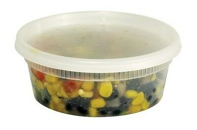 240 Sets 8oz. Tripak Deli Containers with Lids TD40008 Microwavable Hot/Cold