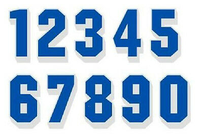 "2"" Reflective Bright Blue Numbers White Drop Shadow These are single numbers"