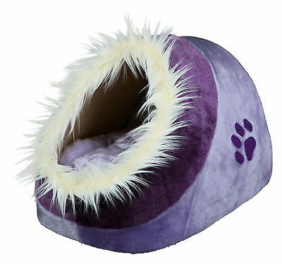 Minou Cuddly Cave Cat Kitten Comfy Igloo Bed Lilac & Violet with Fur Edging
