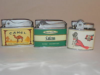 Lot of 3 Vintage Lighters Zenith Salem Crown Camel OTC Pinup Girl Japan Naughty