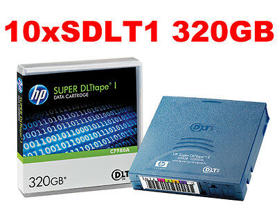 10 x HP Super DLT SDLT-1 DLTtape I Data Cartridge Backup Tape 320GB C7980A