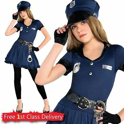 Girls Police Fancy Dress Costume Cutie Cop Hat & Handcuffs Included Teen A 8-14Y