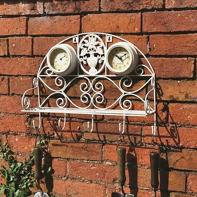 Kingfisher Vintage White Garden Shelf Clock With Thermometer and Hooks GSHELFC