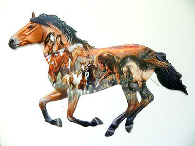 Horse Collage Colorful Metal Wall Art Home Decor Made in USA