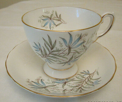 """Tuscan Works Staffordshire, England """"blue Lily"""" Tea Cup And Saucer-Vintage"""