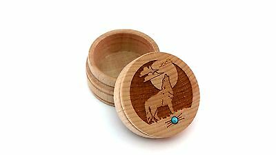 Maple Wood Laser Carved Round Trinket Box Wolf Howling Moon Inlaid Turquoise New