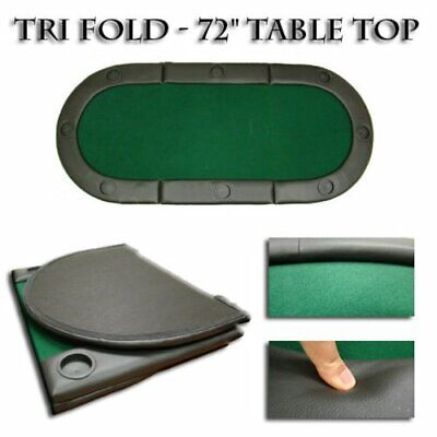 """""""Green 72""""""""x32"""""""" Tri-Fold Poker Table Top With Cup Holders!"""""""
