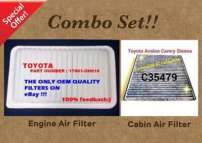 Engine&Carbonized Cabin Air Filter Combo Set For SIENNA CAMRY RX350 ES330