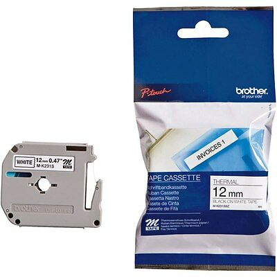 Brother M-K231SBZ P-Touch  Black on White Plastic Labelling Tape 12mmx4m Genuine