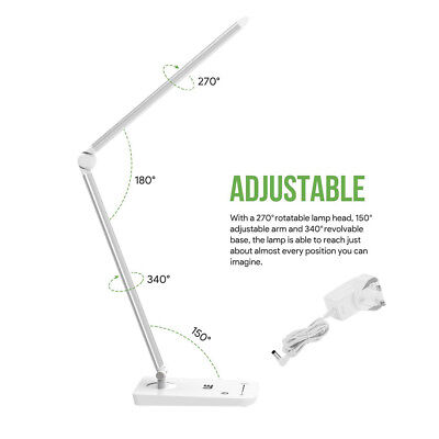 8W Dimmable LED Desk Lamp Touch Sensitive Folding Table Light for Office Reading