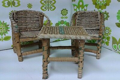 Collectable Vintage Doll's Rattan and Bamboo Table and 2 Chairs (s5)