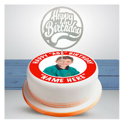 PERSONALISED PHOTO EDIBLE Icing Cup Cake Topper Toppers 7.5 inch round square