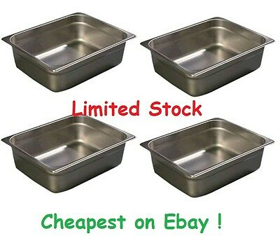 Set of 4 Half Size Food Pans Gastronorm For Chafing Dish Dishes Pan