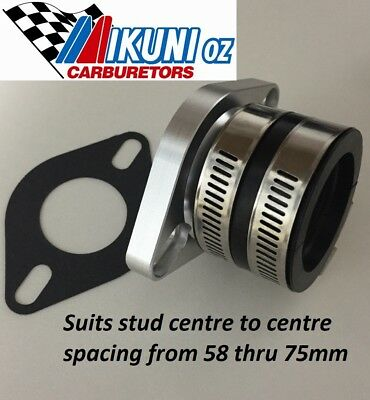 Mikuni carb Mounting Flange/ Manifold 34mm & Boot 40mm ID, 58- 75mm Stud centres