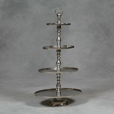 Extra Large Antiqued Aluminium Oval 4 Tier Cake Stand 119 H x 67 W x 50 D cm New
