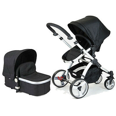 Black 2 in 1 Aluminium Baby Toddler Pram Stroller Jogger with Bassinet 4 Wheel
