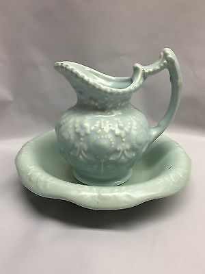 Vintage Camark Pottery Small PITCHER & BOWL #139B Light Blue