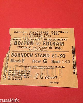 1976/77 League Cup Replay Bolton V Fulham Ticket