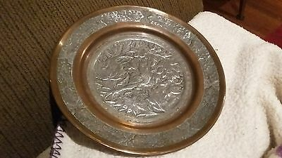 Antique Persian Engraved Silver Copper Zinc Birds Floral Plate Wall Hanging