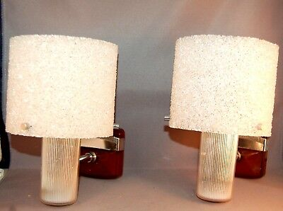 SHIMMERING French  Mid-Century Modern Granulated Lucite Wall Sconces! WOW!