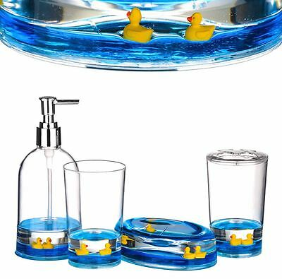 4pc Bathroom Accessories Set, Floating Ducks, Acrylic Finish BRAND NEW