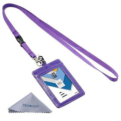 Wisdompro 2-Sided Vertical Style PU Leather ID Badge Holder with 1 ID Window ...