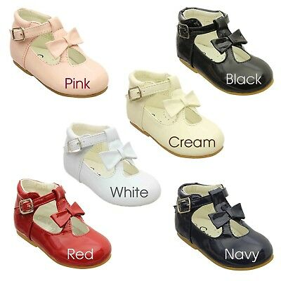 Baby Girls + Girls Patent Faux Leather Bow Front Ankle Strap Shoes UK Sizes 1-6