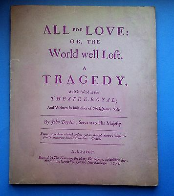 Ristampa-John Dryden-All For Love ... 1678-The Scolar Press Limited 1969-L3575