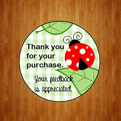 Cute eBay Whimsical Lady Bug Large  Round Thank You Label Sticker 1.67 PN3X24