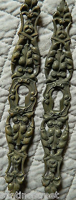 1800's Set Of 2 Furniture Escutcheons Keyhole Covers Acanthus Leaf Louis Xv #3