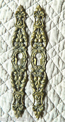 1800's Set Of 2 Furniture Escutcheons Keyhole Covers Acanthus Leaf Louis Xv  #1