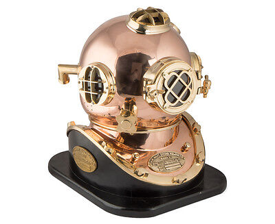 Diver's Helmet- US Navy Mark V Solid Brass Vintage ,Full Size,Wooden Base