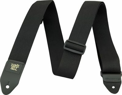 """Ernie Ball Poly Pro 2"""" Electric Bass Guitar Strap Leather End Black Blk"""