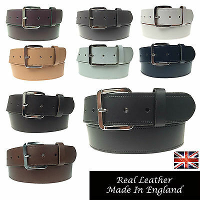 "Mens Womens 1.5"" Real Leather Genuine Made In England Jeans 40Mm Wide Belt"