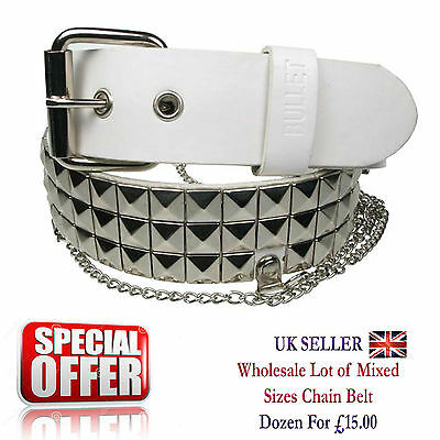 Mixed Sizes Wholesale Job Lot Of Pyramid Studded White Chain Belts BY142