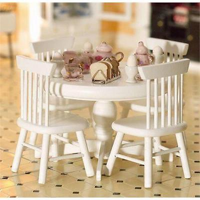Round White Table & Four Chairs 1:12 Scale for Dolls House Kitchen 2142