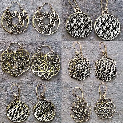 Sacred geometry brass earrings Flower of life FOL Spiritual Yoga jewellery SOL