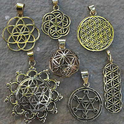 Sacred Geometry Pendants Brass Spiritual Symbols Flower of Life Yoga Jewellery