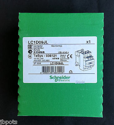 Schneider LC1D09JL Contactor, Non-Reversing, 12V DC Coil, 9A, 3-Pole Tesys New