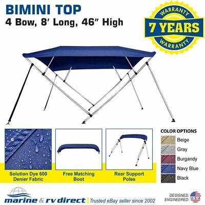 "New  Bimini Top Boat Cover 4 Bow 46"" H 73"" - 78"" W  8 Foot Navy Blue"