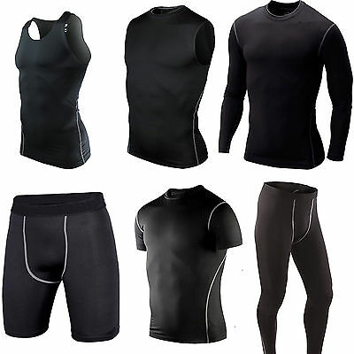 Mens Sport Compression Tights Base Layer Under Long Pants Vest T-Shirts Gym Wear