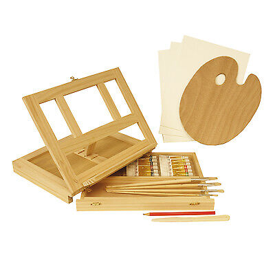 US Art Supply 23 Piece Oil Painting Set with Wooden Table Easel & Drawer