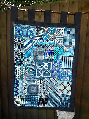 Amarnas HandCrafted Blue Skies Patchwork Tapestry Pagan Wicca Witch Cross Stitch